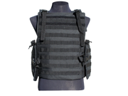 GXG Paintball Tactical Flak Jacket Modular Vest - Black + 11 Molle Attachments