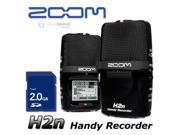 Zoom H2n Digital Handheld Handy Flash Memory Recorder Features: Records in WAV up to 24-bit/96kHz and MP3 up to 320kbps  Newly designed user interface  Additional functions include Lo-cut Filter, Compressor/Limiter, Auto Gain, Pre-Rec, Auto-Rec, Tuner, Metronome, Variable Speed Playback, Key Control, A-B Repeat, File Dividing, Normalize, MP3 Post-Encode, Marker and Surround Mixer  Data recovery function protects against unexpected recording errors  Analog-type Mic Gain wheel  Accommodates up to 32GB SDHC memory cards Recording Format: MP3 / WAV Recording Media: 16MB-2GB SD cards, 4GB-32GB SDHC cards Recording Time: 2GB Card Example: 3:08:00 (44.1kHz/16bit WAV) / 34:43:00 (128kbps MP3) Connector: Input jack: Line/mic stereo mini jack  Output jack: Line/headphone stereo mini jack Speaker: 400mW, 8 Ohms, mono Battery: 2x AA-size batteries Ba...