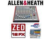Allen Heath ZED 12FX USB Mixer w Effects