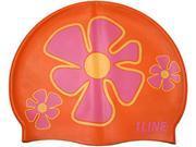 1Line Sports Flower Trio Silicone Swim Cap Orange