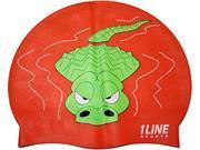 1Line Sports Gator Silicone Swim Cap Orange