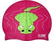 1Line Sports Gator Silicone Swim Cap Pink