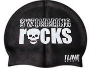 1Line Sports Swimming Rocks Silicone Swim Cap Black