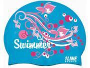 1Line Sports Swimmer Swirl Silicone Swim Cap Royal
