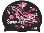 1Line Sports Swimmer Swirl Silicone Swim Cap Black