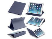 Slim iPad Air Case: Devicewear Ridge - Blue Vegan Leather Case with Six Position Flip Stand and On/Off Switch
