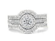 1 1/10ct Round Diamond Engagement Matching Wedding Ring Set White Gold 14K
