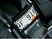 Kuryakyn Curved Laydown License Plate Mount W/Frame Black
