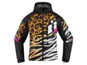 Icon Merc Shaguar Womens Textile Jacket Black/Brown/White SM 9SIA1455EH2465