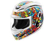 Icon Airmada Doodle Full Face Helmet Multi/White/Blue/Orange LG 9SIA1453WG8371