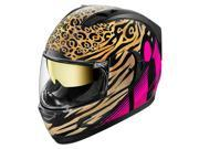 Icon Alliance GT Shaguar Motorcycle Helmet Gold/Black/Pink SM 9SIA14551U2049