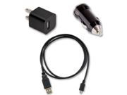 Micro USB Data Cable + AC Wall & Car Charger for HTC Google Nexus One Freestyle
