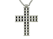 Sharper Image Stainless Steel Mirrored Cross Necklace