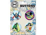 DC Comics Superman Batman Flash Wonder Woman 4 Piece Button Set 9SIA14G0YE8621