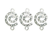 Silver Plated Metal Findings-Spiral Connector 4/Pkg