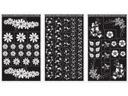 """Rub 'n' Etch Glass Etching Stencils 5""""X8"""" 3/Pkg-Floral Designs"""
