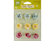Dilly Dally Glitter Paper Flowers 9/Pkg-