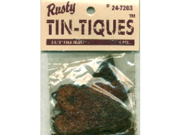"Rusty Tin-Tiques Tin Cut-Outs-Folk Heart 2-1/8"" 4/Pkg"