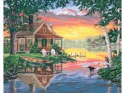 """Paint By Number Kit 20""""X16""""-Sunset Cabin"""