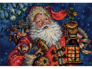 "Gold Collection Petite Nighttime Santa Counted Cross Stitch -10""X8"" 18 Count"