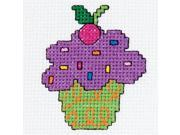 "My 1st Stitch Cup Cake Mini Counted Cross Stitch Kit-3"" Round 14 Count"