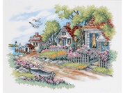 """Cottages By The Sea Stamped Cross Stitch Kit-14""""X11"""""""