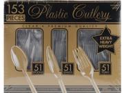 Premium Heavy Weight Plastic Cutlery Set 153/Pkg-Clear
