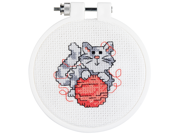 "Kitten Mini Counted Cross Stitch Kit-3"""" Round 14 Count"" 9SIA75X3ET3334"