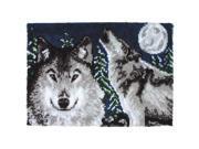 "Wonderart Latch Hook Kit 27""X40""-Midnight Wolves"