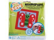 "Butterfly Learn To Sew Needlepoint Kit-6""X6"" Red Frame"