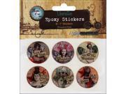 "Vintage Collection Epoxy Stickers 1"" 6/Pkg-Nostalgic 2"