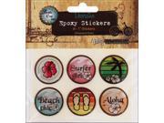 "Vintage Collection Epoxy Stickers 1"" 6/Pkg-Surfer Girl"
