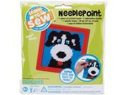 "Dog Learn To Sew Needlepoint Kit-6""X6"" Red Frame"
