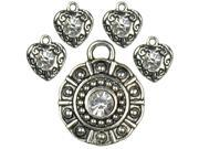 Jewelry Basics Metal Accents 5/Pkg-Silver Rhinestones