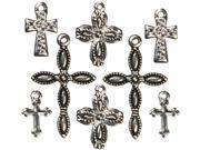 Jewelry Basics Metal Charms 8/Pkg-Silver/Black Crosses