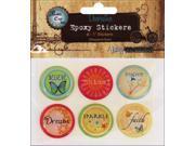 "Vintage Collection Epoxy Stickers 1"" 6/Pkg-Inspirational"