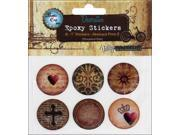 "Vintage Collection Epoxy Stickers 1"" 6/Pkg-Abstract Paper 3"