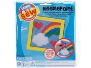 "Rainbow Learn To Sew Needlepoint Kit-6""X6"" Yellow Frame"
