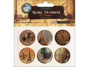 "Vintage Collection Epoxy Stickers 1"" 6/Pkg-Paris Passport"