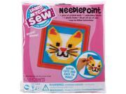 "Cat Learn To Sew Needlepoint Kit-6""X6"" Pink Frame"