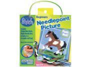 "Horse Learn To Stitch Needlepoint Kit-6""X6"" Blue Frame"