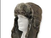 USHANKA TROOPER Brown Pilot AVIATOR Soft Faux Fur Leather Hat Trapper Men and Women 6 7/8