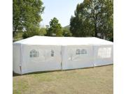 Outsunny 10 x 30 Gazebo Canopy Party Tent w Removable Side Walls White