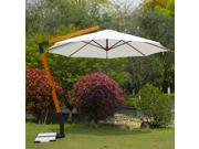 Outsunny 12' Wooden Hanging Offset Patio Umbrella w/ Marble Base