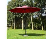 Outsunny 9' Solar Multi-Color LED Market Patio Umbrella - Wine Red 9SIA15G42W3058