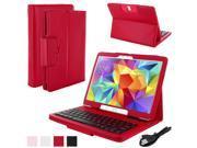 Wireless Bluetooth Keyboard Portfolio PU Leather Case for Galaxy Tab S10.5,Red