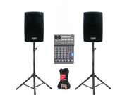 """Podium Pro 2 New 8"""" Powered Active 800 Watt Speakers, Bluetooth, Mixer, Stands and Cables DJ Set PP802ASET2B"""