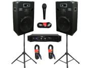 "Podium Pro Studio Speakers 15"" Three Way Pro Audio Monitor Pair, Stands, Amp, Cables and Mic DJ Set 1500CSET"