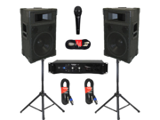 """Podium Pro 12"""" Speakers 2 Way Monitors, Stands, Amp, Cables and Mic Set for PA DJ Home or Karaoke TRAP12SET"""
