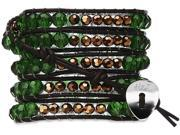 Wrap Bracelet-Genuine Brown Leather with Green and Gold Beads